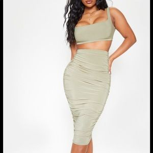Two piece set ruched skirt & top sage green size 2